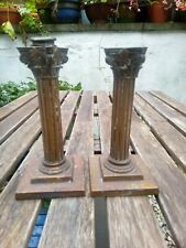 More details for heavy 1.2kg vintage/antique pair of reeded corinthian column candlesticks