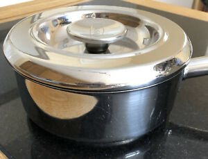 Genuine AGA Stainless Steel Shallow Saucepan with Lid. 1.5 Litres. 18cm.