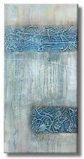 BILDER MALEREI KUNST Original HANDGEMALT MICO 40x80 BLAU ABSTRAKTE Gemälde ACRYL