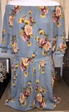 d1731aab790 XHILARATION Women s Blue Pink Rose Floral Ruffle Off The Shoulder Romper  Small