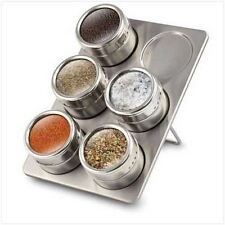 Stainless Steel Magnetic Spice Rack Herb Pot Jar Kitchen Storage Holder Stand