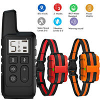 2 Dog Electric Shock Collar 875 Yards Remote Control Waterproof No Bark Training