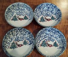 4 Folkcraft Christmas Country Cabin Tienshan Blue & White Sponge Soup Bowls