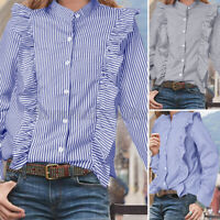 Womens Collared Long Sleeve Shirt Tops Ruffle Striped Button Down Casual Blouses