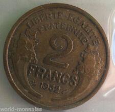 2 francs morlon 1932 : TB : pièce de monnaie française