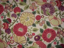 "SANDERSON CURTAIN  FABRIC  DESIGN ""Tree Poppy"" 1 METRES RED & PLUM (100 CM)"
