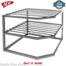 2 Tier Corner Shelf Plate Organizer Rack Cabinet Storage Counter Kitchen Dishes
