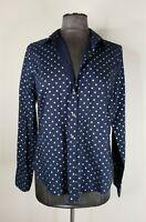 "J.Crew Women's Size 10 ""Perfect"" Shirt Button Up Navy Blue Silver Polka Dot"