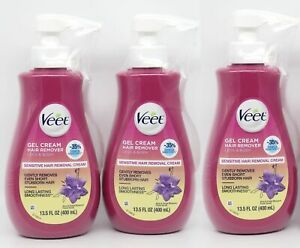Veet Gel Hair Remover Cream Legs Body, Sensitive Formula 13.5 oz x3 with Aloe