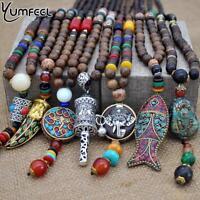 Yumfeel Handmade Nepal Jewelry Buddhist Mala Wood Beads Pendant Necklace Ethn
