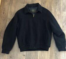 Wollsey Car Coat  Wool Black Bomber Style Lined Jacket Large