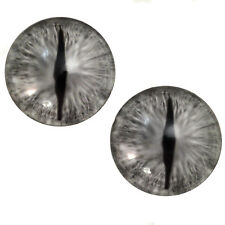 Pair of 30mm Silver Dragon Glass Eyes for Jewelry, Sculptures or Art Doll Making