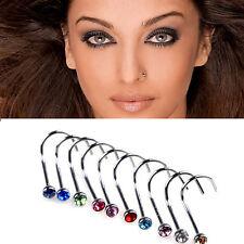 10Pcs Stainless Steel Nose Screw Studs Rings Rhinestone Crystal Gem Piercing Bar