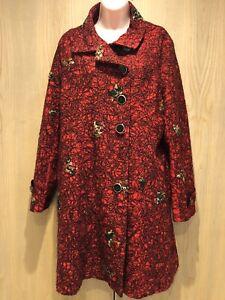 Joe Browns Red & Black Jacket Coat Ladies Size 16 Embroidered Boho Knee Length