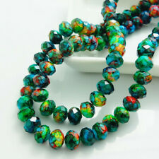 Fashion Painted Rondelle Faceted Crystal Glass Loose Spacer Beads 4mm6mm8mm10mm