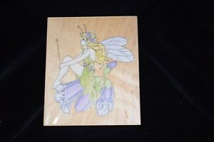"""Stamps Happen -Fairy on Foxglove Rubber Stamp - 5.5"""" x 4.5"""" - # 80087 - NEW"""