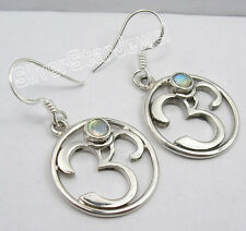 """925 Pure Silver RAINBOW MOONSTONE OHM OM Earrings 1.5"""" COMBINED SHIPPING"""
