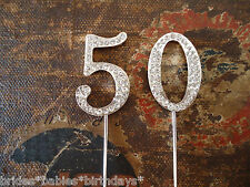 Birthday Cake Topper Rhinestone Crystal Anniversary Silver 50th cupcake decorate