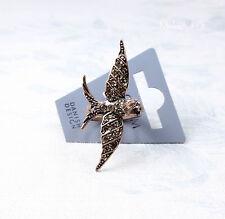 PILGRIM Adjusts Ring SWALLOW FLOWER Bird Vintage Antique Copper SWAROVSKI BNWT