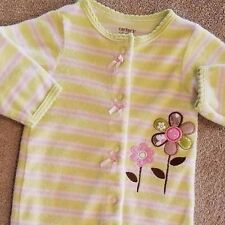 ADORABLE! CARTER'S NEWBORN TERRY CLOTH FLOWER FOOTED SLEEP N PLAY OUTFIT REBORN