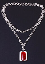 HIP CHUNKY SILVER TONE NECKLACE RECTANGLE PENDANT RED 'LADYBIRD' STONE (ZX17)