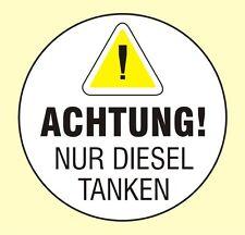 Nur DIESEL tanken Tankdeckel Achtung Aufkleber 45 mm Ø Leihwagen Mietwagen N7591