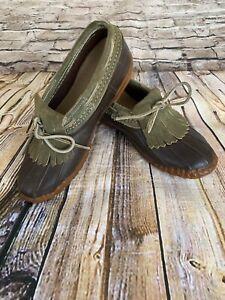 LL BEAN Rare Vintage Shoe Boot Brown Olive Suede Tassle Fringe  Ladies Size 8