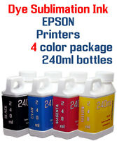 Dye Sublimation Ink - Epson WorkForce  EcoTank printers - 4 multi-color bottles
