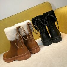 Women Winter Casual Round Toe Faux Leather Warm Thicken Back Lace Up Snow Boots
