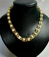 Vintage luxury Gold Tone Faux Pearl Necklace Chain Link 14 inch Women Accessorie