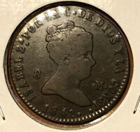1842 SPAIN 8 Maravedis Colonial Nice Grade Collectible Coin Isabel II~KM#531.8