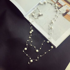 Collier Sautoir Long Perle Blanc Gros Petit Plaqué Or 18K Retro Fin Class XXF1