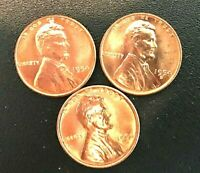 1954 P D S GEM UNCIRCULATED  LINCOLN CENTS (3 COINS)