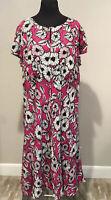 Talbots Plus Sz 18W Pink Black White Floral Print Dress short sleeve