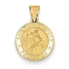 14k Yellow Gold Polished and Satin St. Christopher Medal Pendant 15mm Engravable