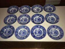 Set of 12 Arabia Finland Soup Bowls Blue Transferware Grist Mill Landscape