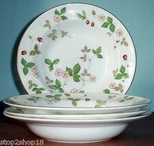 "Wedgwood WILD STRAWBERRY Rim Soup Bowl SET OF 4 Made in UK 8"" New"