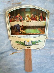 """Vintage """"The Last Supper""""  Texaco Advertising Fan - Meredith Tire Battery Texas"""