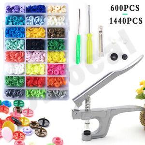 600/1440PCS KAM Snap Kit +Plier Tool T5 Plastic Snaps Fastener Button Press Stud