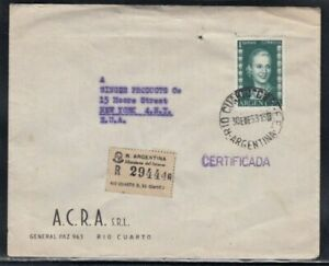 ARGENTINA Registered Cover Río Cuarto to New York City 30-1-1953 Cancel