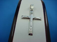 14K SOLID WHITE GOLD MEN'S LARGE CRUCIFIX PENDANT, MADE BY TRIANTOS, 8.7 GRAMS