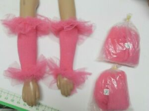 Lot of 3 pair of dark pink mitts LG child to Large adult ruffled nylon net