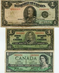 1923 $1 LARGE SIZE SILVER CANADA , 1937 & 1954 $1 SMALL NOTES!!..STARTS @ 2.99