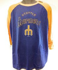 Mens Majestic MLB Seattle Mariners Cooperstown Collection Baseball 3/4 T-Shirt