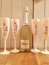 Elite Premium White Polycarbonate Champagne Flutes - Set of 4 200ml Reusable