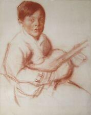 ENTOURAGE ALEXANDRE IACOVLEFF  RUSSE DESSIN SANGUINE ENFANT GUITARE MUSICIEN