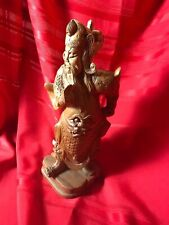 """12"""" Chinese wood Carving Dragon Warrior Figure Statue"""