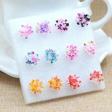 Stud Earrings Fashion Jewelry Us&Hk 6Pairs Resin Colorful Daisy Flower Ear