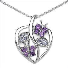 Collier/Halskette mit Herz/Tansanit,Amethyst-Anhänger
