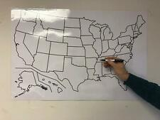 """Blank Us Map Laminated Dry Erase Poster, Reusable United States Map 24""""x36"""""""
